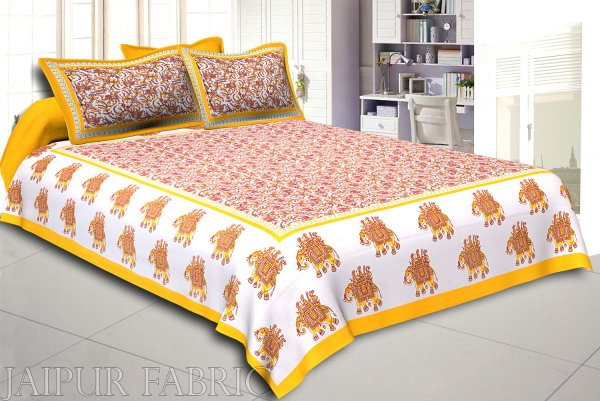 Yellow Elephant Safari Printed Cotton Double Bed Sheet