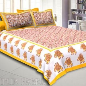 Yellow Elephant Safari Printed Cotton Double Bed Sheet