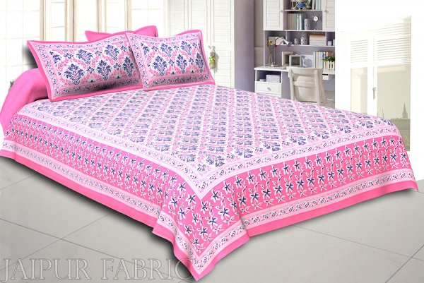 Pink Border Multi Color Floral Printed Cotton Double Bed Sheet