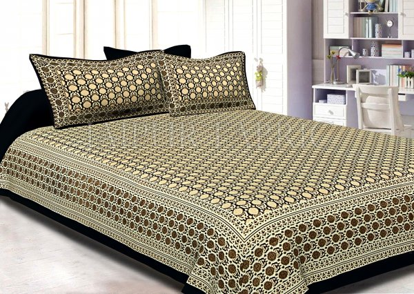 Black Border Cream Base Small Floral Pattern With Golden Print Super Fine Cotton Double Bedsheet