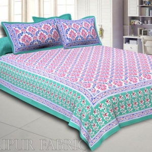 Green Border Multi Color Floral Printed Cotton Double Bed Sheet