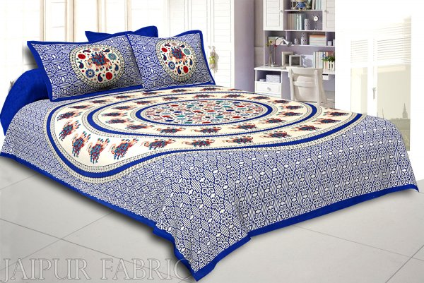 Blue Border Elephant and Rangoli Print Cotton Double Bed Sheet