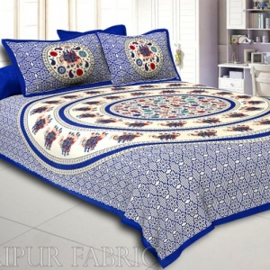 Blue Elephant and Rangoli Print Cotton Double Bed Sheet