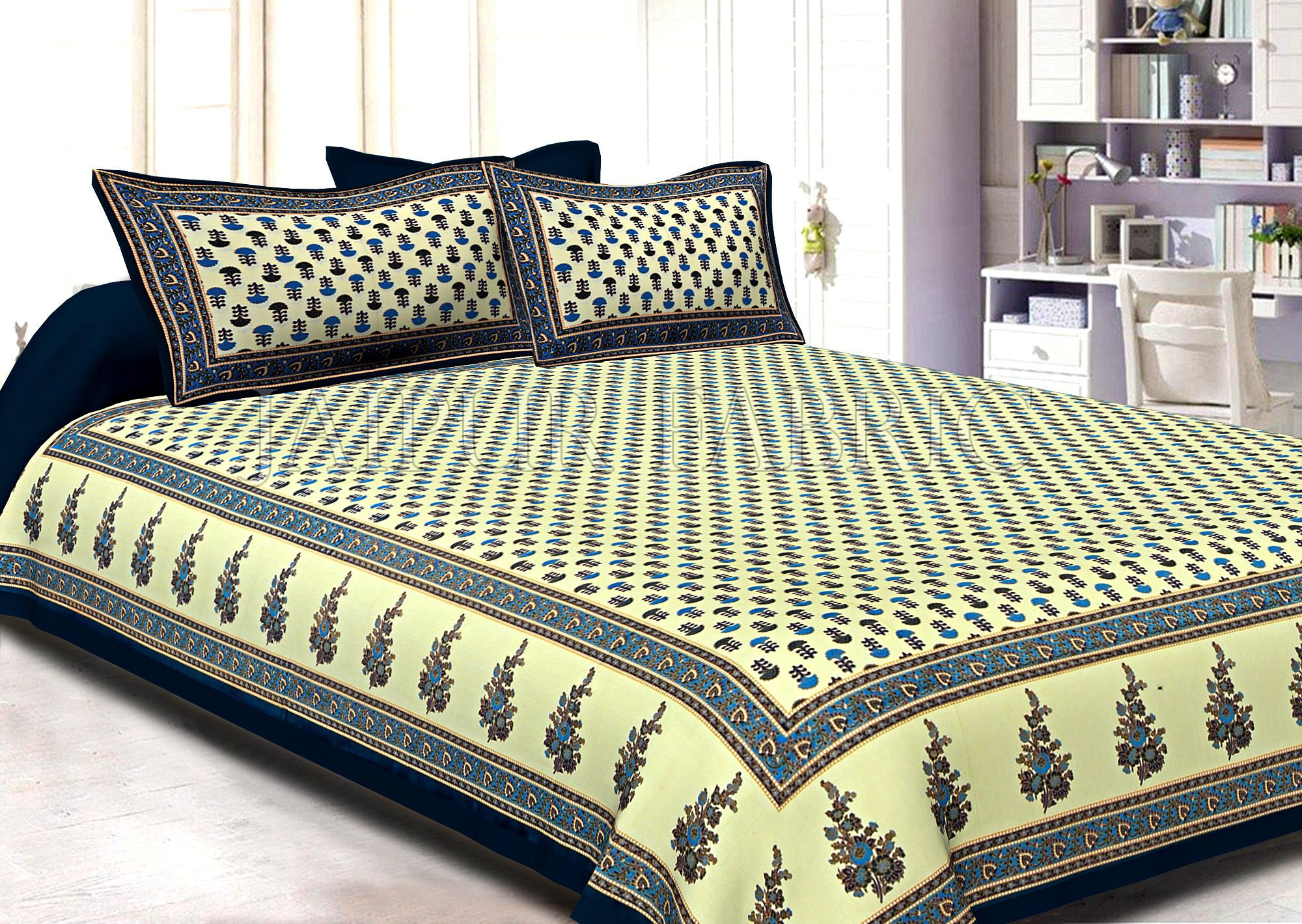 Dark Green Border Cream Base Small Tree Pattern With Golden Print Super Fine Cotton Double Bedsheet