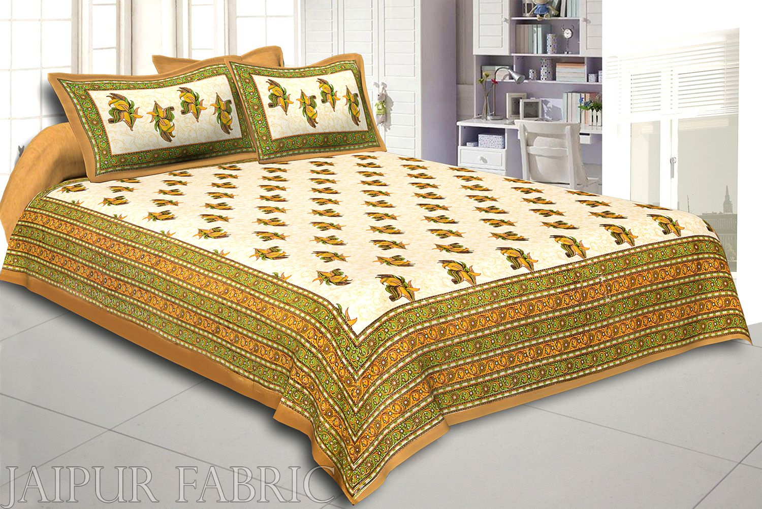 Brown Border Rajasthani Bel Design Cotton Double Bed Sheet