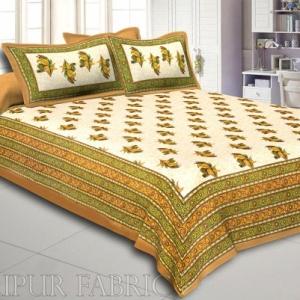 Brown Border Rajasthani Bel Design Cotton Double Bed Sheet