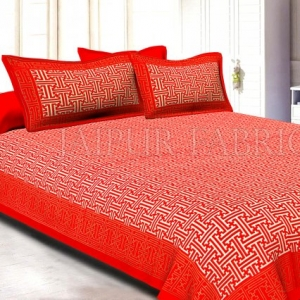 Redish Orange Border Cream Base Zig Zag Pattern With Golden Lining  Super Fine Cotton Double Bedsheet