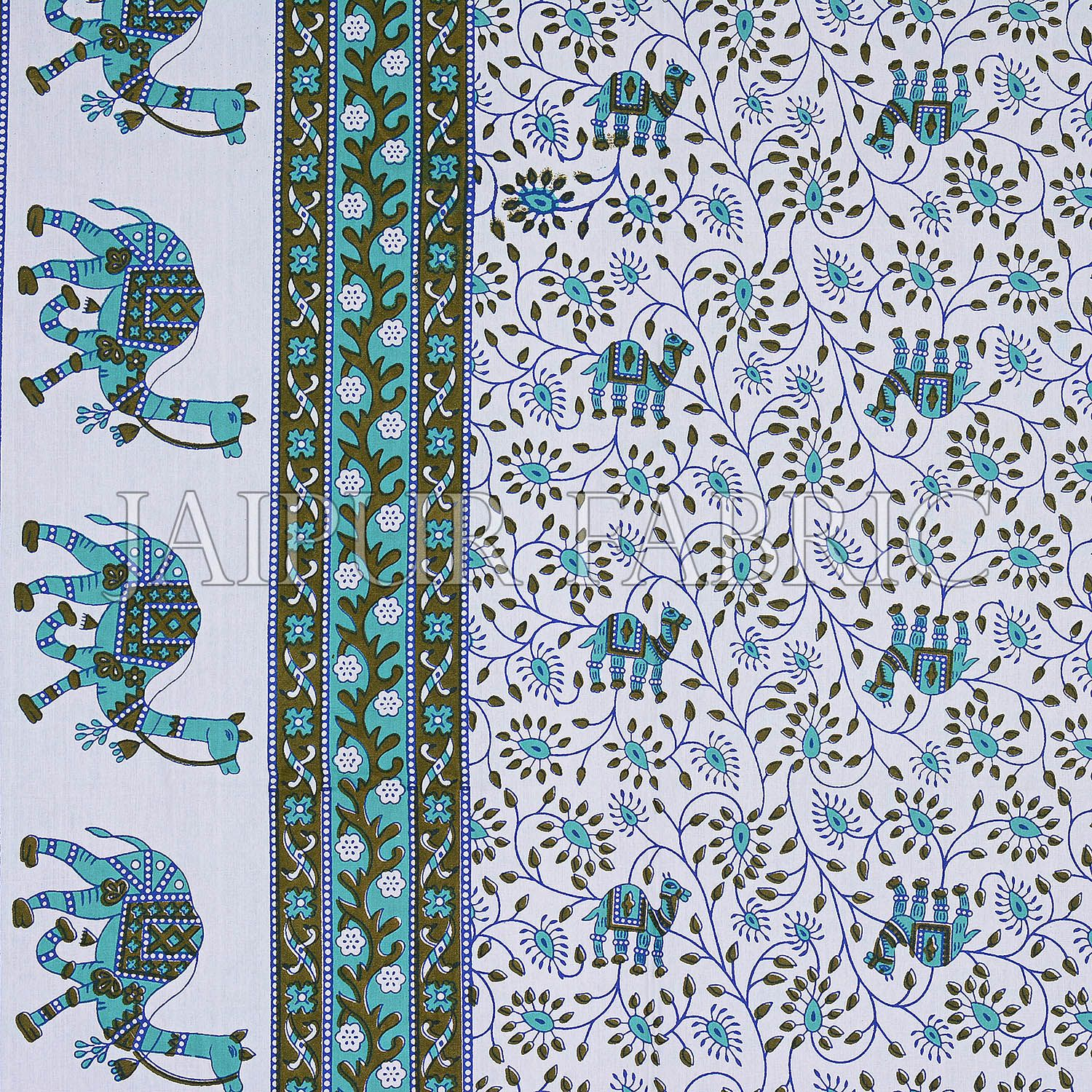 Green Base Jaipuri Camel Printed Cotton Double Bed Sheet