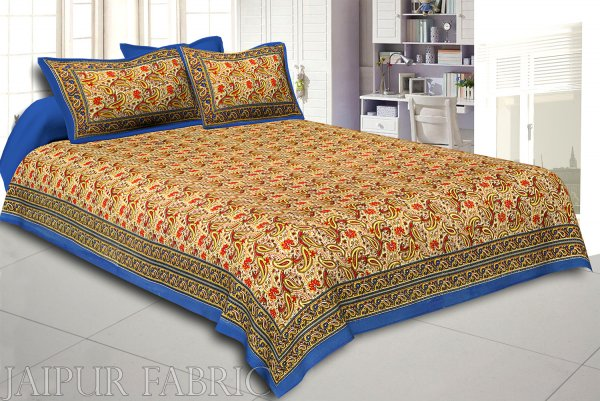 Blue Rajasthani Jaipuri Printed Cotton Double Bed Sheet