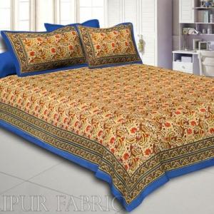 Blue Rajasthani Jaipuri Printed Cotton Double Bed Sheet