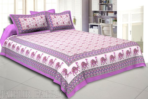 Purple Base Jaipuri Camel Printed Cotton Double Bed Sheet