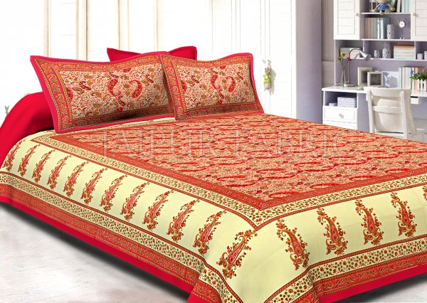 Dark Pink Border Cream Base Dense Small Kerry Pattern With Golden Lining Super Fine Cotton Double Bedsheet