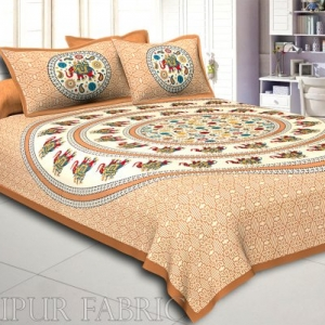 Brown Elephant and Rangoli Print Cotton Double Bed Sheet