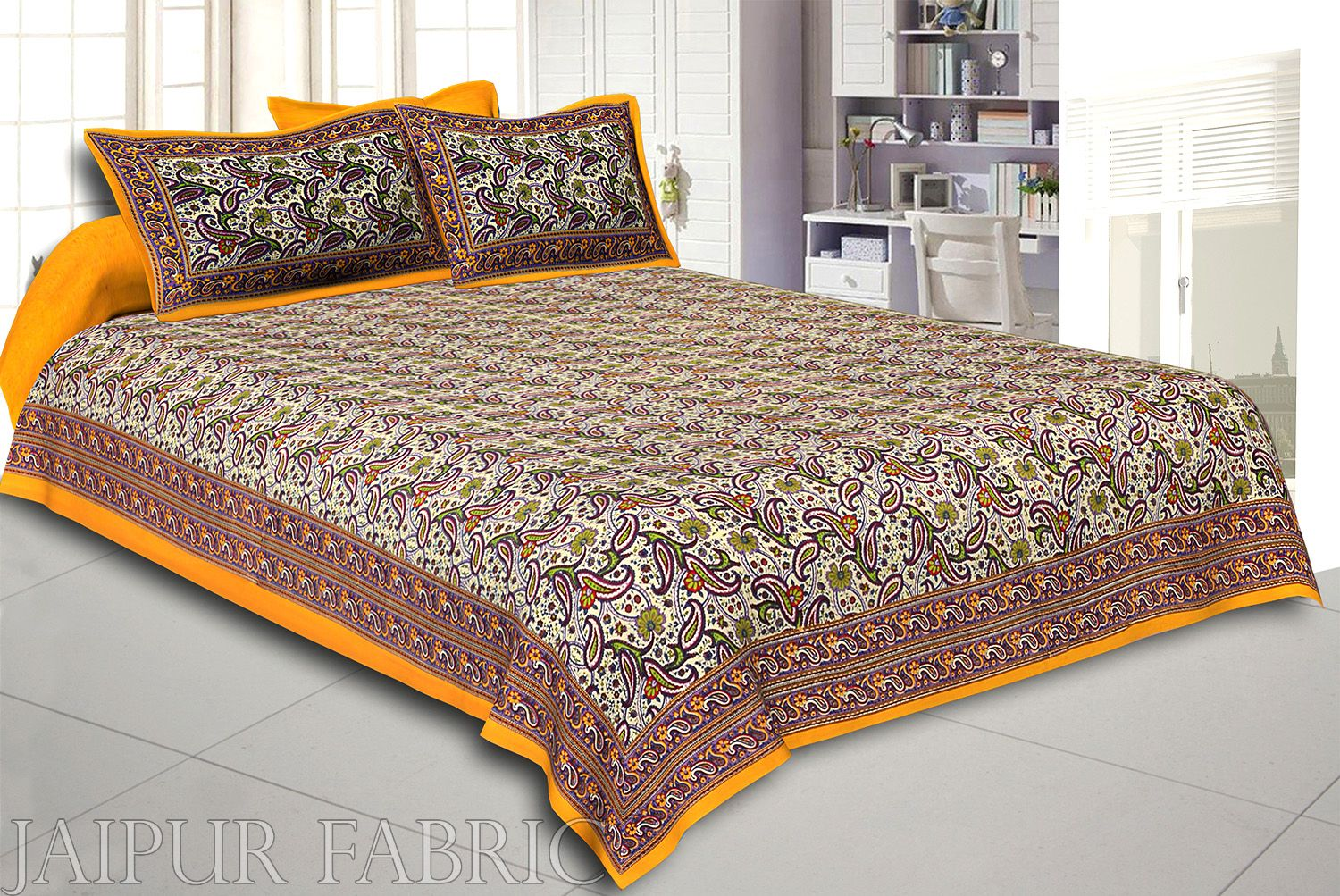 Yellow Rajasthani Jaipuri Printed Cotton Double Bed Sheet
