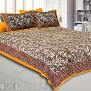 Yellow Rajasthani Jaipuri Printed Cotton Double Bed Sheet