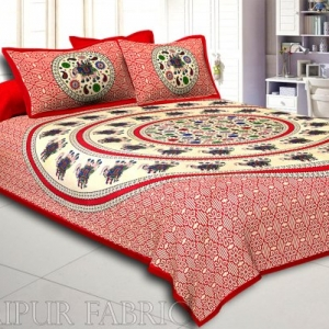Red Border Elephant and Rangoli Print Cotton Double Bed Sheet