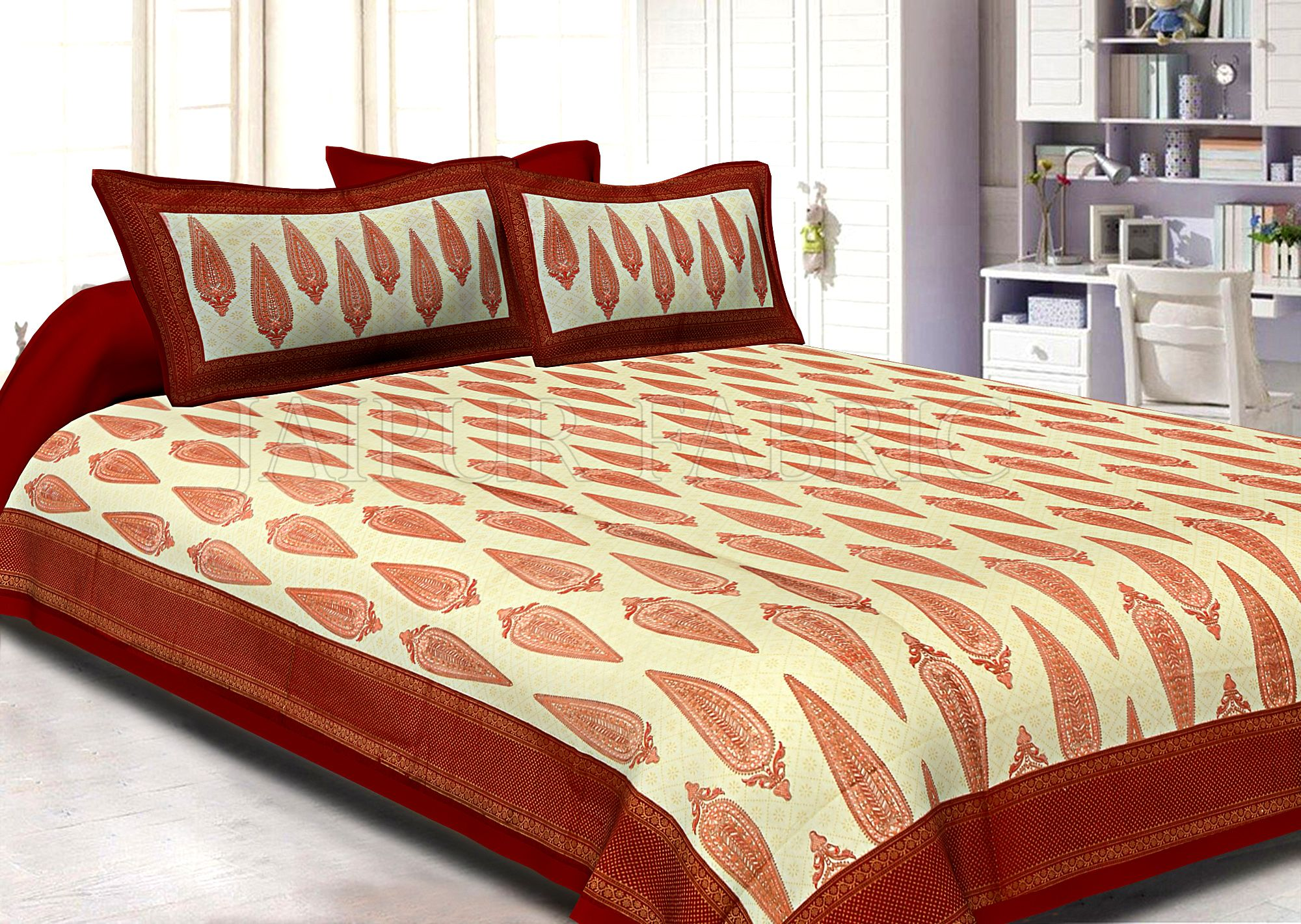 Maroon Border Cream Base Long Leaf Pattern With Golden Print Super Fine Cotton Double Bedsheet