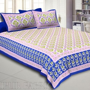 Blue Border Multi Color Floral Printed Cotton Double Bed Sheet