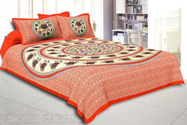 Orange Border Elephant and Rangoli Print Cotton Double Bed Sheet