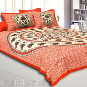 Orange Elephant and Rangoli Print Cotton Double Bed Sheet