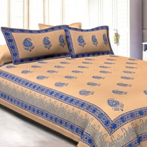 Light Brown Base Blue Colour Kerry Patttern Hand Block Print Super Fine Cotton Double Bedsheet