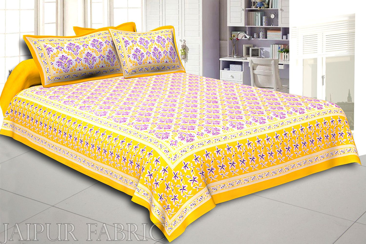 Yellow Border Multi Color Floral Printed Cotton Double Bed Sheet