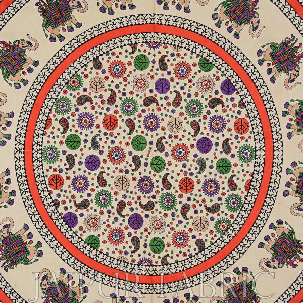 Red Elephant and Rangoli Print Cotton Double Bed Sheet