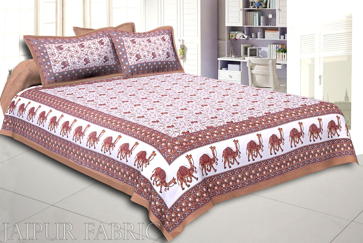Khaki Base Jaipuri Camel Printed Cotton Double Bed Sheet