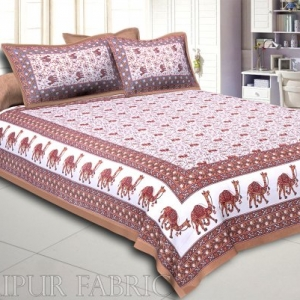 Khaki Base Jaipuri Camel Printed Cotton Double Bed Sheet