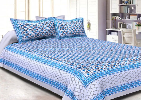 White Base White Blue Border Small Blue Flower With Black Leaf Pattern Hand Block Print Super Fine Cotton Double Bed Sheet
