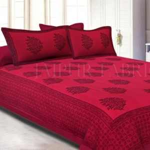 Brick Colour With Black Floral Pattern Hand Block Print Super Fine Cotton Double Bedsheet