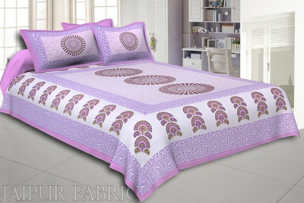 Purple Sanganeri Printed Cotton Double Bed Sheet