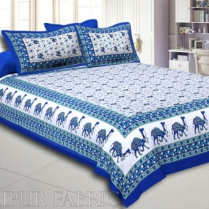 Blue Base Jaipuri Camel Printed Cotton Double Bed Sheet