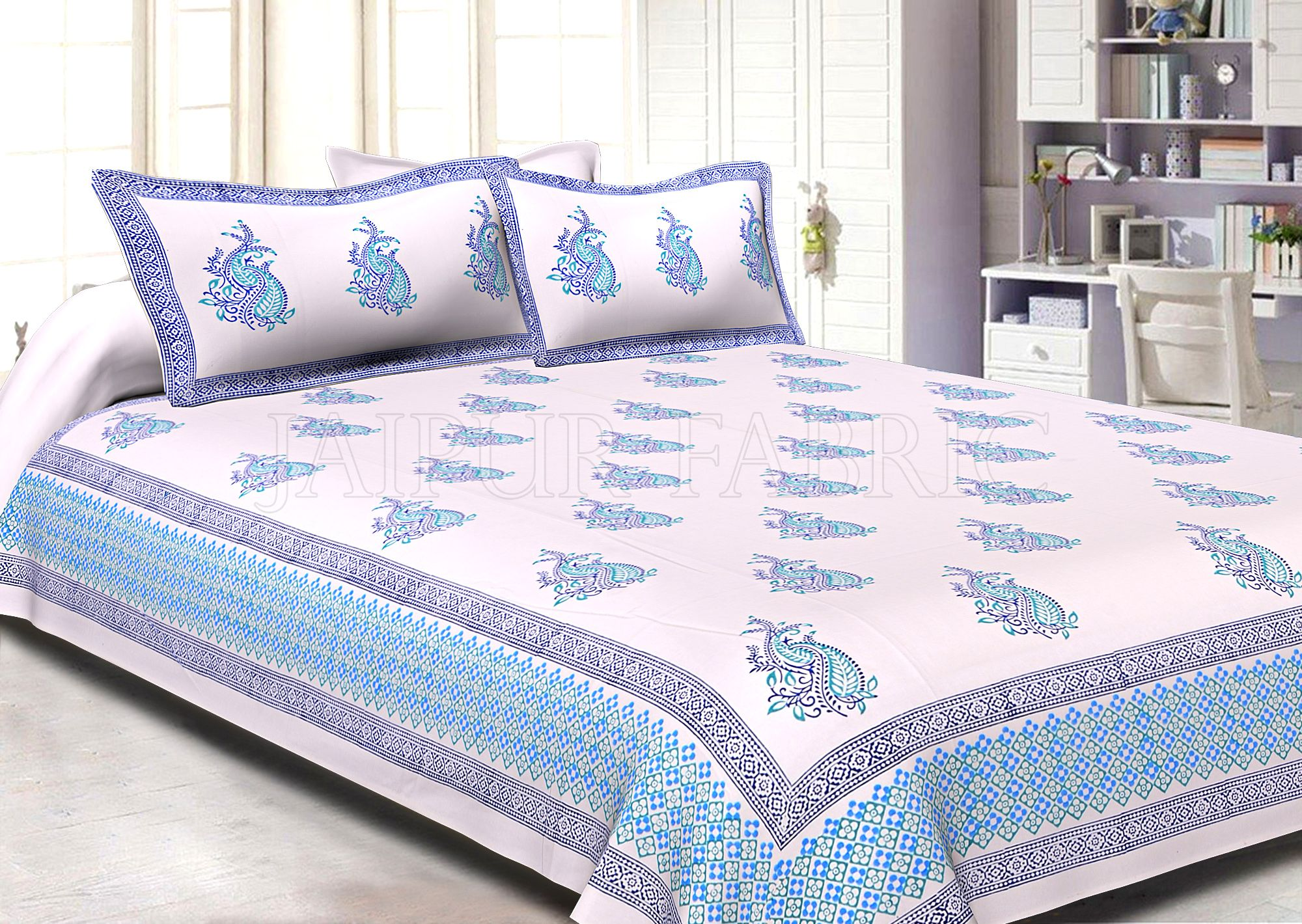 White Base Light And Dark Blue Twin Leaf Pattern Hand Block Super Fine Cotton Double Bedsheet