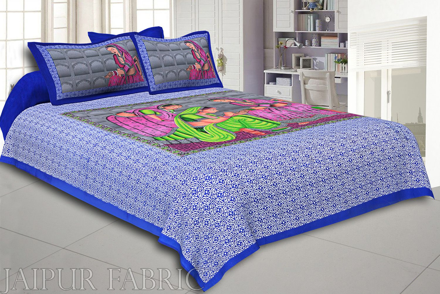 Blue Border With Blue Base '' Lady With Mehandi Creation '' Cotton Double BedSheet With 2 Cover