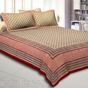 Red Border Hand Block Keri Bagru Print Cotton Double Bed Sheet