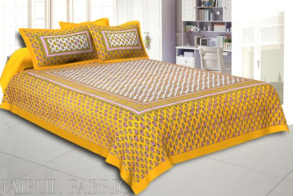 Yellow Base leaf and circles Printed Cotton Double Bed Sheet