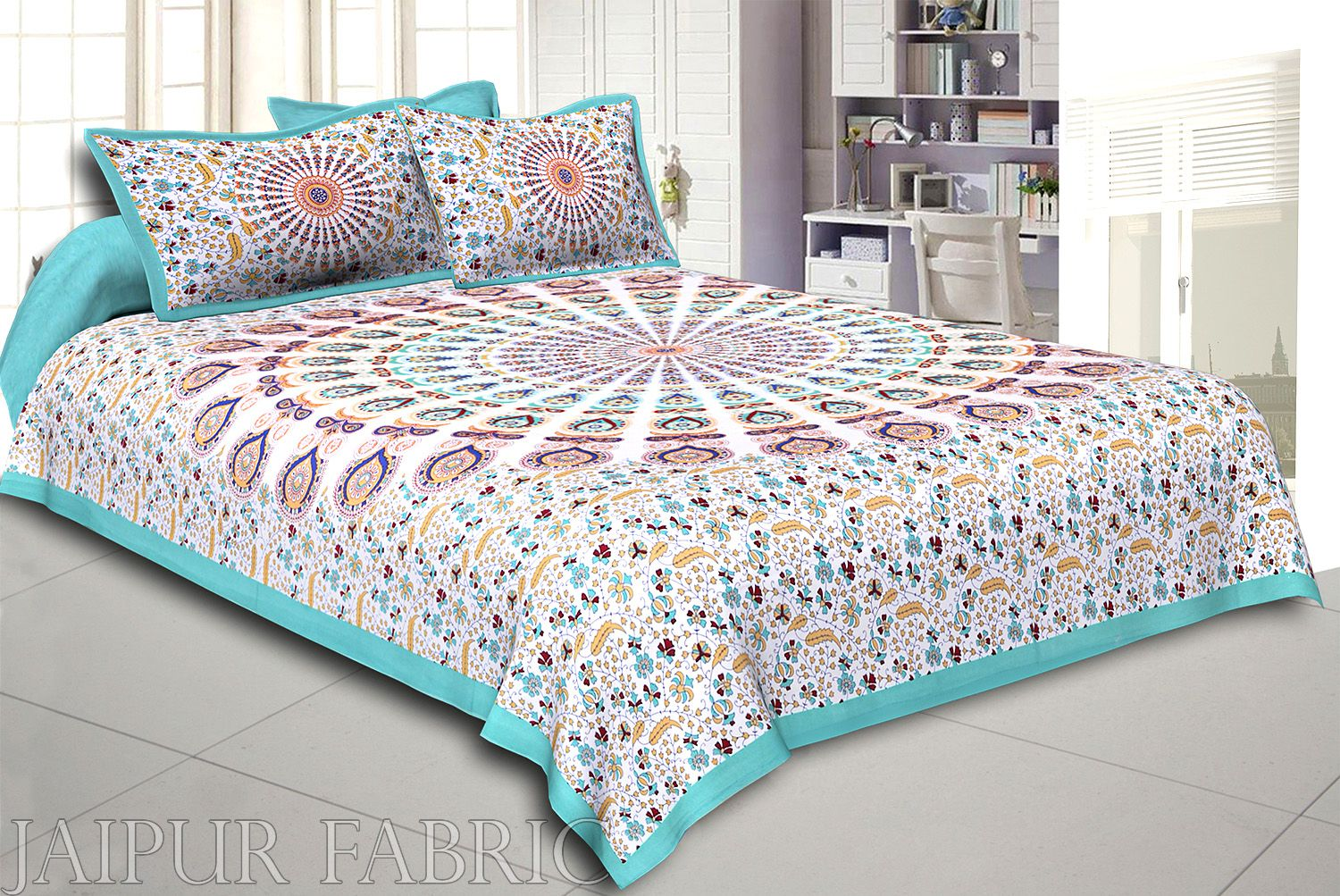 Green Kalangi Printed Cotton Double Bed Sheet