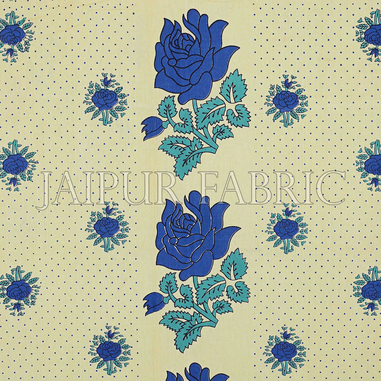 Dotted Yellow Base Blue Lotus Flower Print Cotton Double Bed Sheet