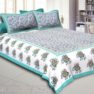 Green Elephant Safari Printed Cotton Double Bed Sheet
