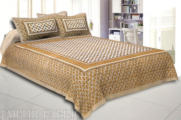 Khaki Base leaf and circles Printed Cotton Double Bed Sheet