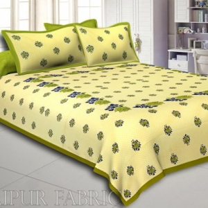 Dotted Yellow Base Green Lotus Flower Print Cotton Double Bed Sheet