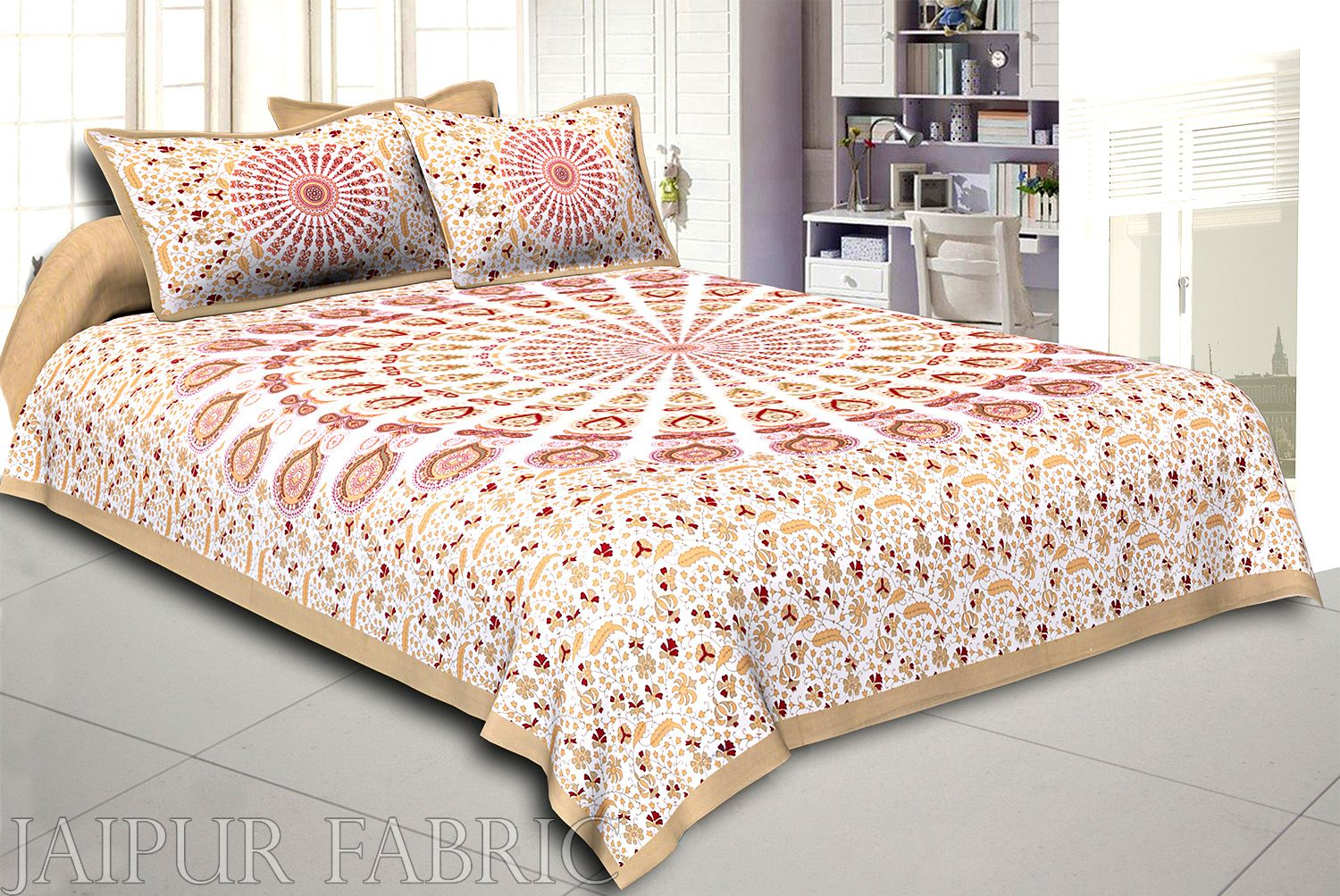 Olive Kalangi Printed Cotton Double Bed Sheet