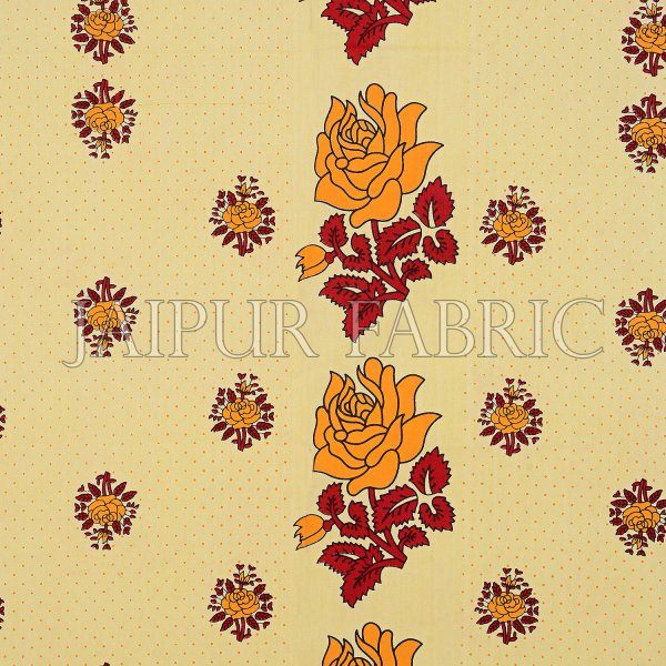 Dotted Yellow Base Yellow Lotus Flower Print Cotton Double Bed Sheet