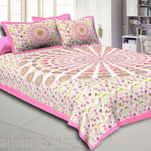 Pink Kalangi Printed Cotton Double Bed Sheet