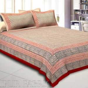 Red Border Hand Block Floral Bagru Print Cotton Double Bed Sheet