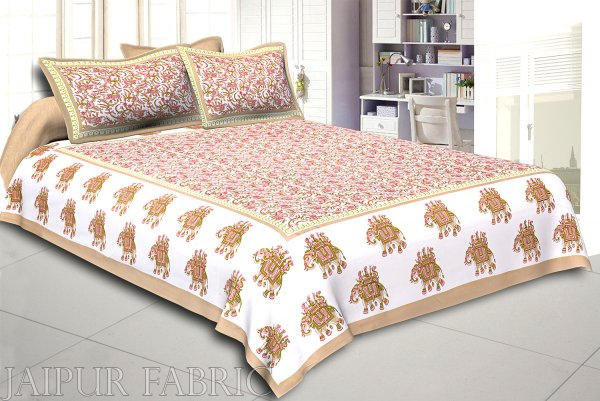 Khaki Elephant Safari Printed Cotton Double Bed Sheet