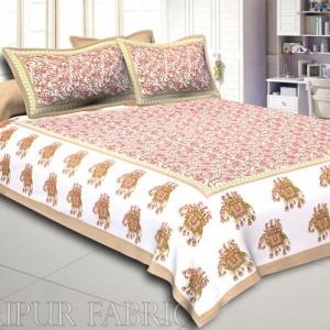 Khaki Elephant Safari Printed Cotton Double Bed Sheet
