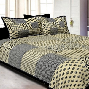 Black Border With Small Lotus Rangoli And Check Print Designer Patrn Fine Coton Poplin Double Bedsheet With Two Pillow Cover