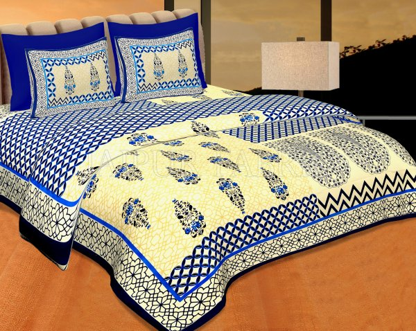 Navy Blue creame Base With Rangoli And Gamala Printin Designer Pattern Fine Cotton Poplin Double Bedsheet With Two Pillow